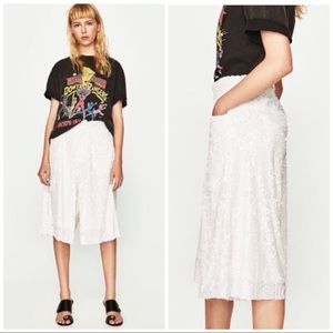 ZARA   WHITE SEQUINED HIGH RISE CULOTTES PANT